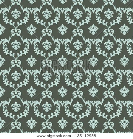 Vintage Royal Classic ornament pattern in green color. Vector