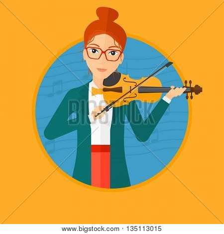 Woman playing violin. Violinist playing classical music on violin. Woman with violin and bow on blue background with music notes. Vector flat design illustration in the circle isolated on background.
