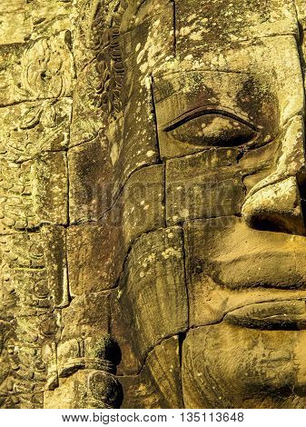 Detail of stone face in Bayon Temple, Angkor Wat
