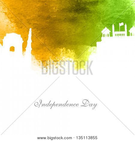 Creative white illustration of famous monuments on abstract watercolor background, Elegant Greeting Card design for Happy Indian Independence Day celebration.