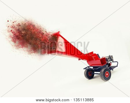 3D render of a shredder with explosion effect