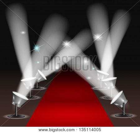 Red carpet with spotlights. vector illustration EPS10