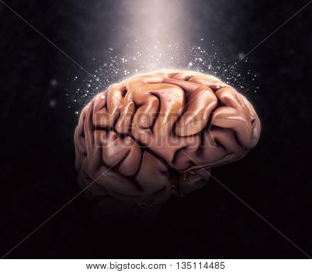 3D render of a human brain on a dramatic background