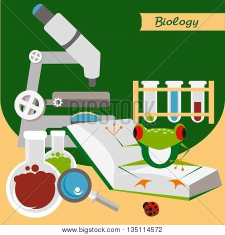 Biology. Microscope with books and funny frog. Biological experiments. Laboratory