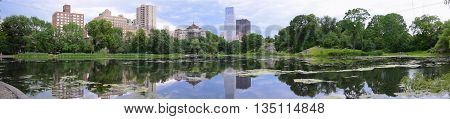 Landscape at Harlem Meer in Central Park in the center of Manhattan, NYC