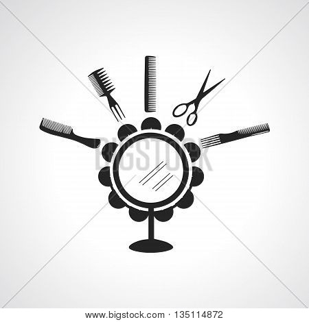 Flat style design black silhouette icon and logotype sign of hairdresser accessories. Comb icon hairbrush icon mirror icon scissors icon beauty salon icon hairdressing salon icon
