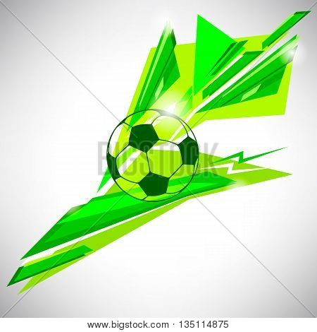 Background logo icon symbol and sign design concept of football soccer ball on green triangular abstract lines and shapes background for website blog banner and t-shirt printed material
