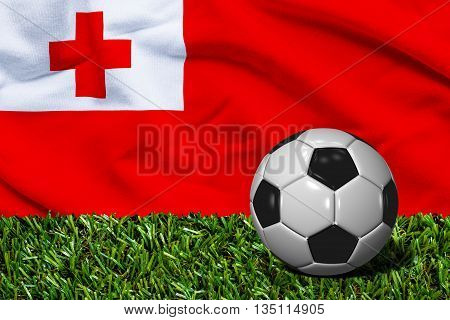 Soccer Ball On Grass With Tonga Flag Background, 3D Rendering