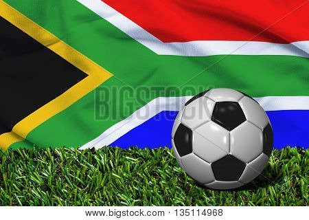 Soccer Ball On Grass With South Africa Flag Background, 3D Rendering