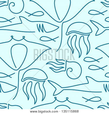 Seamless pattern made of sea fauna drawn with one line