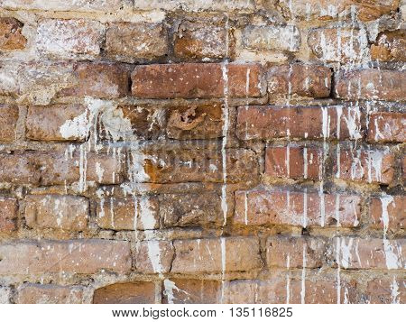 Vintage old red brick white painted wall texture background