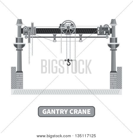 Vector gantry crane in flat style. Isolated on white.