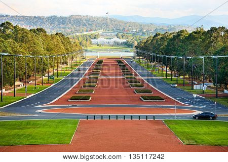 Anzac Parade running from The Australian War Memorial  in direction of Parliament House, Canberra