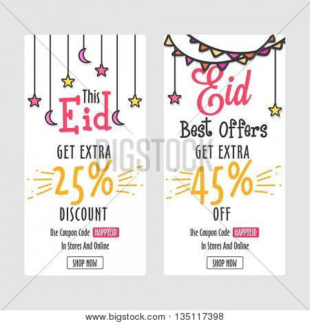 Stylish Sale Website Banners Set with different Discount Offers for Muslim Community Festival, Eid Mubarak Celebration.