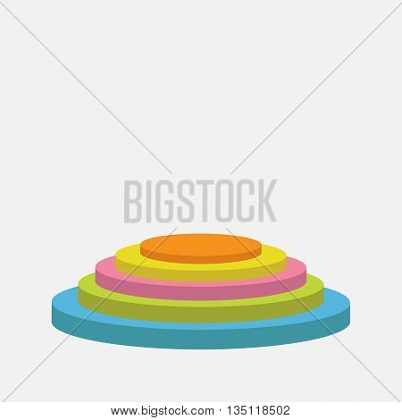 Colorful round stage podium. Empty pedistal for display. 3d realistic platform for design. Isolated. White background. Template. Flat design. Vector illustration