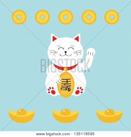 Lucky cat holding golden coin. Japanese Maneki Neco cat waving hand paw icon. Chinese gold Ingot money. Feng shui Success wealth symbol mascot. Cute character Greeting card Flat Blue background Vector