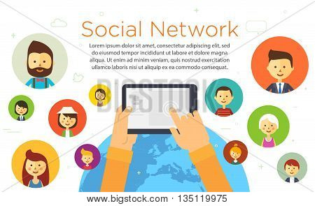 Online chat social network. People all over the world. illustration. Vector eps 10