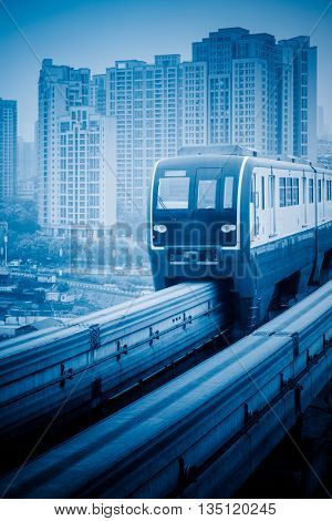 moving metro monorail in chongqing