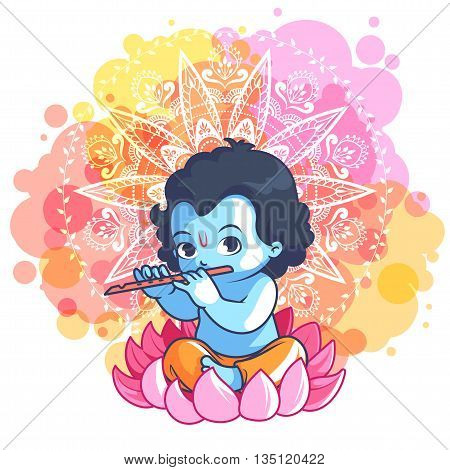 Little Cartoon Krishna With A Flute On The Lotus.