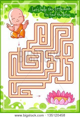 Maze game for kids with monk and lotus. Let's help this little monk to find his way to the lotus. Vector template page with game.