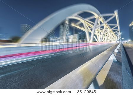 traffic trails at the jiefang bridge,tianjin