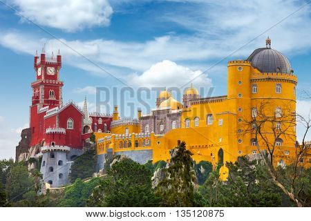 Aerial view of historic Palace of  Pena and blue sky - Sintra, Lisboa, Portugal, Europe
