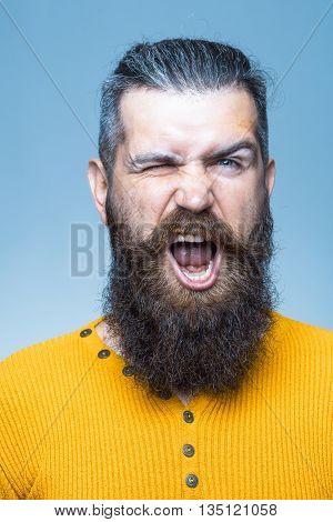 Bearded Shouting Man
