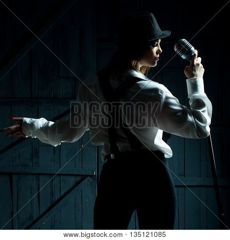 Retro Woman With Microphone
