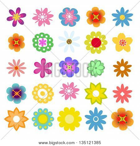 Set of flat flower icons in silhouette isolated. Cute retro design in bright colors flower. Nature summer different flowers decoration. Sunflower spring flowers blossom graphic element. Spring floral.