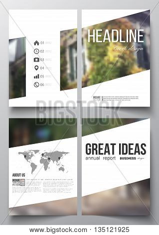 Set of business templates for brochure, magazine, flyer, booklet or annual report. Blurred image, urban landscape, street in Montmartre, Paris cityscape.