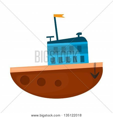 Cartoon ship vector illustration. Cartoon boat sea vessel transportation and travel cartoon boat travel icon. Cruise sailboat drawing symbol cartoon ship design.