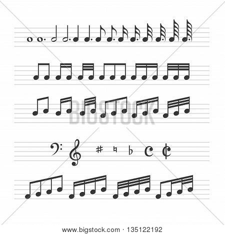 Music Note Sign Set on White Background. Vector illustration