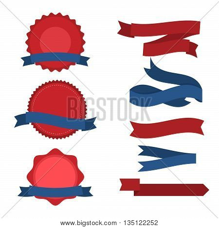 Fourth Of July Ribbons, Shields, Labels And Banners. Collection of July fourth ribbons shield and other badges with banners, labels, ribbons for fourth of july holidays patriotic red and blue event.