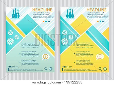 Bowling Skittles Symbol On Vector Brochure Flyer Design Layout Template