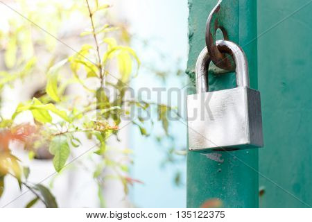 old master key rusty lock on green fence and nature