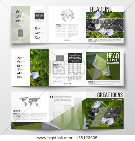 Vector set of tri-fold brochures, square design templates with element of world map and globe. Polygonal floral background, blurred image, blue flowers in green grass closeup, triangular texture