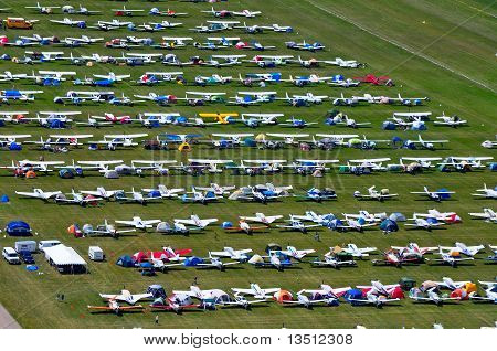 aerial view of parked airplanes