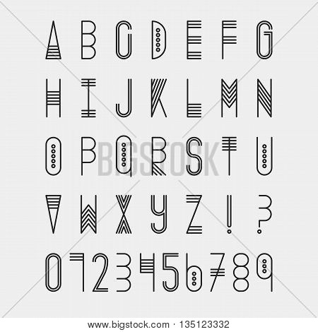 Original ethnic latin alphabet set. Linear uppercase modern font, typeface, english alphabet. Tribal black upper case and question and exclamation marks on white. Modern thin line style