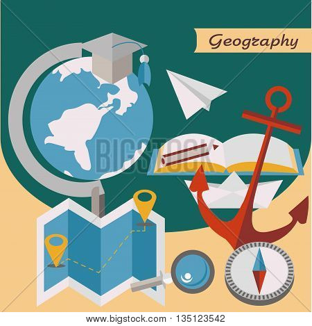 Geography. Globe, map, compass. Open book. Vector illustration