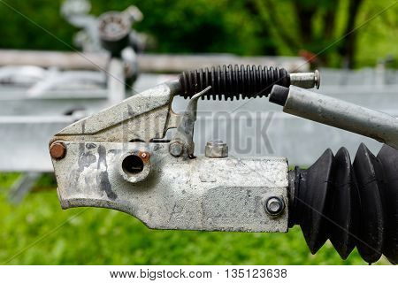 A close up trailer hook for boats