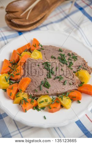 Prime boiled beef with root vegetables, Viennese Tafelspitz