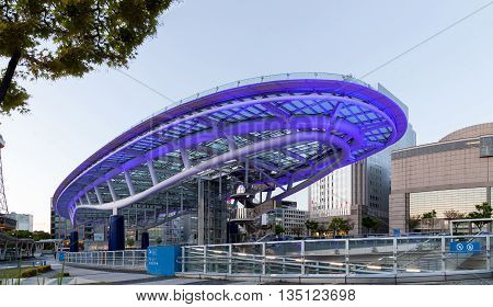NAGOYA JAPAN - April 16 ,2016:Oasis 21 and TV Tower in Sakae. Oasis 21 is a modern facility located adjacent to Nagoya TV Tower in Sakae.