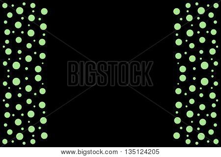 Green points as side frame on a black background
