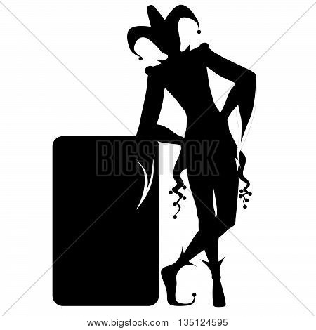 Isolated silhouette of a joker and playing card