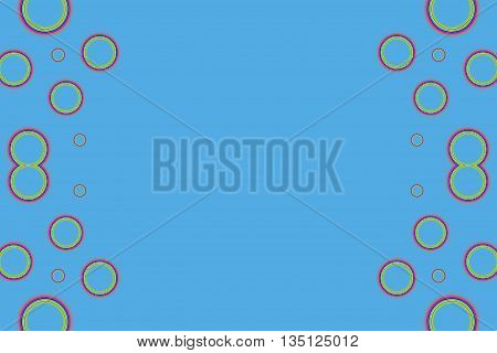 Multicolored bubble as side frame on a blue background
