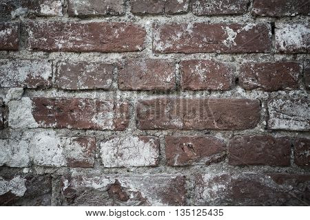 Muddy dirty grunge brown abstract texture wall from bricks copy space