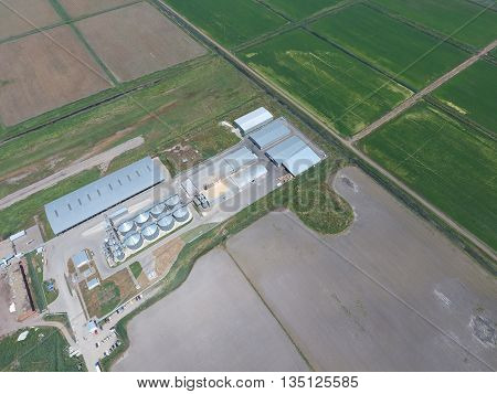 Plant For The Drying And Storage Of Grain. Top View.