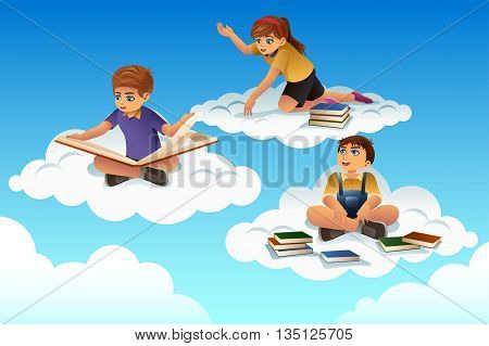 A vector illustration of students sitting on a cloud and reading a book