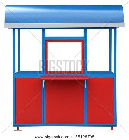 Red blue popcorn kiosk street market stall