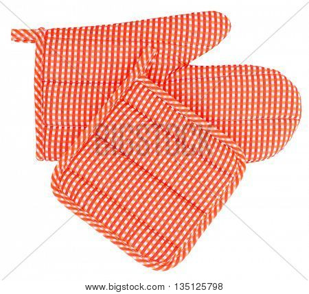 Mitt oven glove and pot holder set orange white plaid